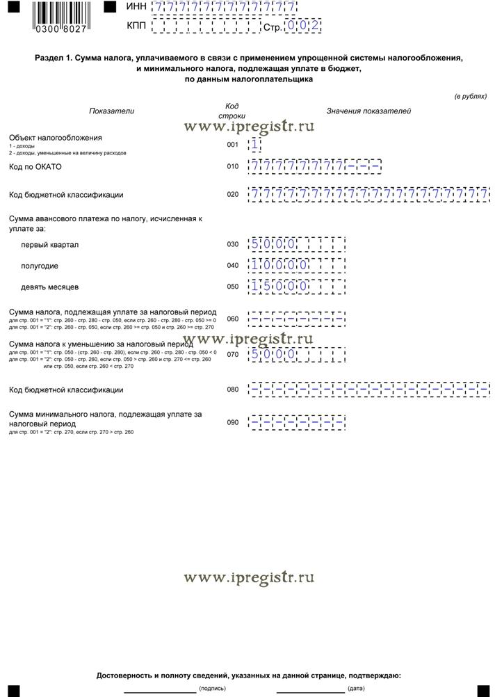 образец заполнения формы по кнд 1152017 для ип - фото 11
